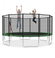 Trampolin Ø 490 cm med sikkerhedsnet og grøn kantbeskyttelse